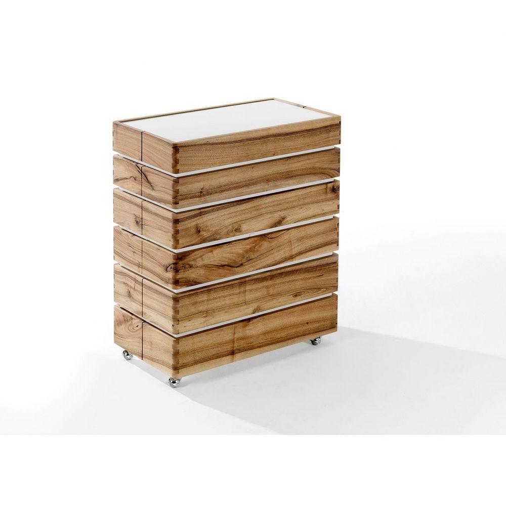 Möbel Holz Sideboard Lea eckig Rollen