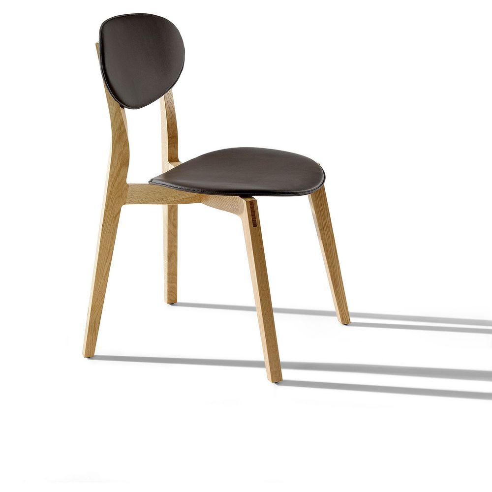 Möbel Stuhl Holz Leder klassisch elegant Pia