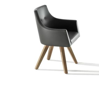 Möbel Stuhl Holz Leder geschwungen elegant Magnus